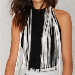 Fringe halter neck top